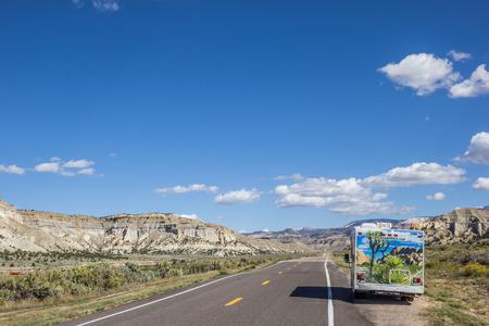 campervan: Campervan along highway 12 in Utah, USA Editorial