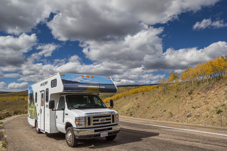 RV on Boulder Mountain road in Utah, USA