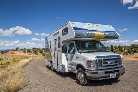rv: RV along highway 12 in Utah, USA