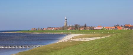 dikes: Panorama of sea and dikes around Hindeloopen, Netherlands