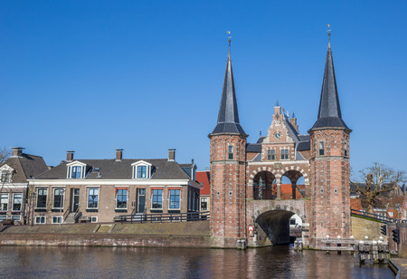 Water gate in the historical city Sneek, Netherlands