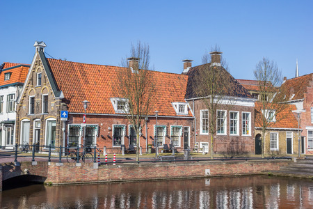 Old houses in historical city Sneek, Netherlands