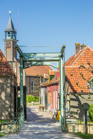 enkhuizen: Bridge and little houses in Enkhuizen, Netherlands Editorial