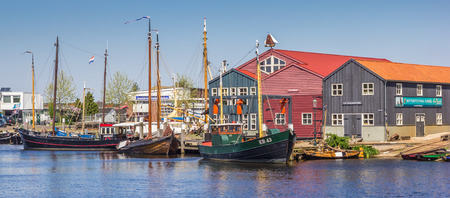 Panorama of fishing boats in Elburg, Netherlands Editorial