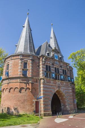 City gate Cellebroederspoort in historical Kampen, Netherlands