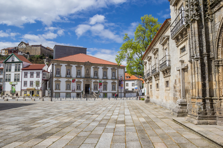 central square: Ribeiro Conceicao Theatre at the central square in Lamego, Portugal Editorial