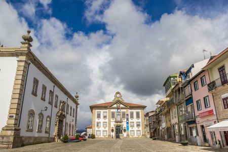 central square: Central square in historical town Chaves, Portugal Editorial