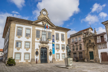 central square: Town hall on the central square in Chaves, Portugal Editorial