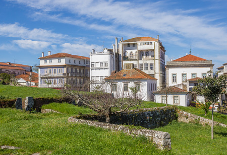fortified wall: Fortified wall and houses in Valenca do Minho, Portugal Stock Photo