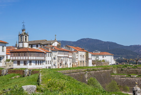 Fortified wall and houses in Valenca do Minho, Portugal Stock Photo