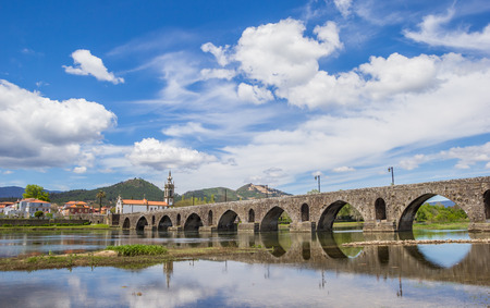 lima: Roman bridge in Ponte de Lima, Portugal Stock Photo