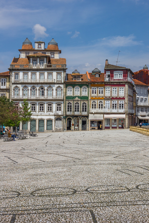 guimaraes: Colorful houses in the historical center of Guimaraes, Portugal Editorial