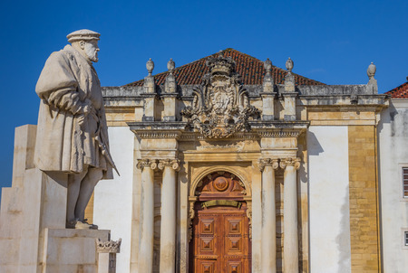 iii: Statue of King Joao III on the university square of Coimbra, Portugal