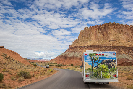 scenic drive: RV on the scenic drive in Capitol Reef National Park, USA