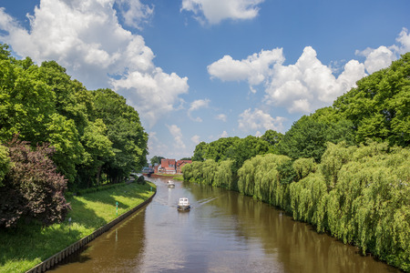 Boats on the river Ems in Meppen, Germany Stock Photo