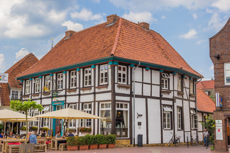 timbered: Half timbered house at the central square in Lingen, Germany Editorial