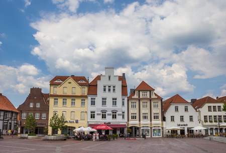 Central market square with cafe and restaurant in Lingen, Germany