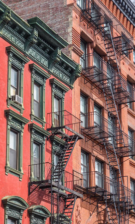 old new york: Old buildings with fire stairs in New York City, USA