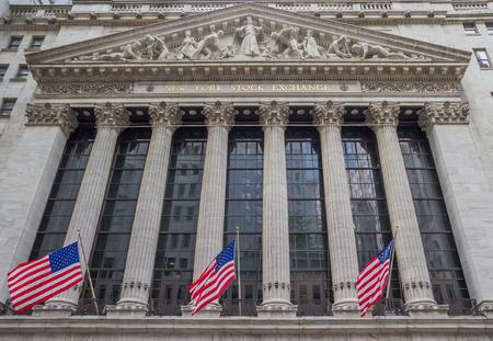 Facade of the New York Stock Eschange at wall street, USA Editorial