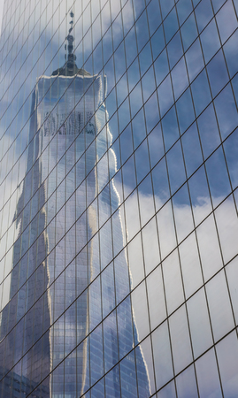 freedom tower: Reflection of the Freedom Tower in New York City, USA