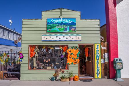 main street: Little old shop in halloween style on main street Bridgeport, California, USA