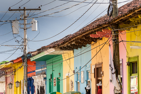 houses row: Row of colorful houses in central Granada, Nicaragua.