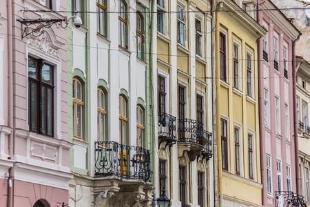 lemberg: Detail of houses at the market square of Lviv, Ukraine