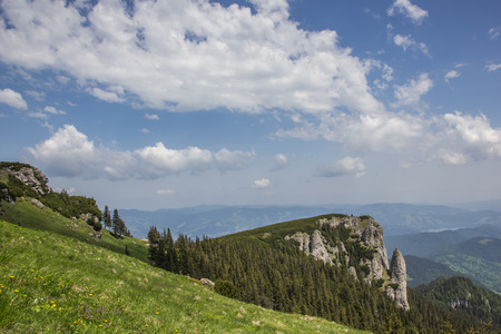 View from the top of the Ceahlau mountain range in Romania