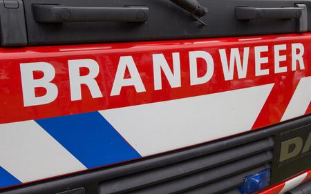 Detail of the front of a dutch fire truck