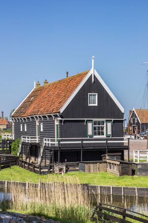 enkhuizen: Wooden cottage at the lake in Enkhuizen, Holland