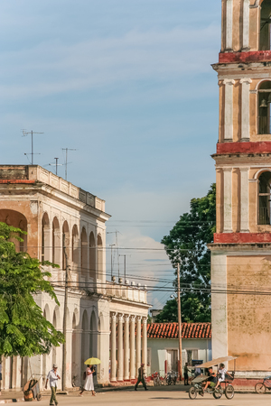 streetlife: Cityscape of historical town Remedios, Cuba