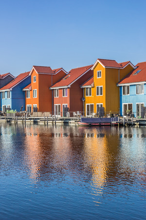 Colorful houses at the Reitdiephaven in Groningen, The Netherlands