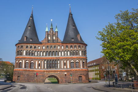 back gate: Back of the Holstein gate in Lubeck, Germany