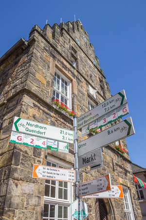 Traffic sign for cyclists in front of the town hall of Schuttorf, Germany