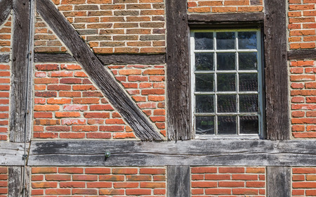 half timbered: Detail of an old barn at the Saline Gottesgabe in Rheine, Germany