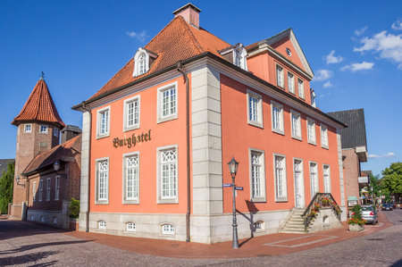 Hotel at the central street in Haselunne, Germany Editorial