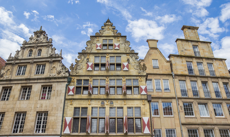 westfalen: Old houses with blinds in the historical center of Munster, Germany Stock Photo