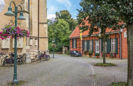 westfalen: Cobblestones street in the historical center of Telgte, Germany Editorial