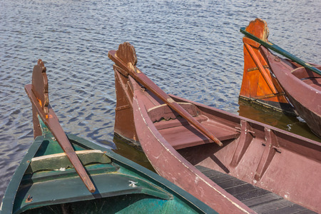 punter: Traditional wooden boats in Giethoorn, The Netherlands