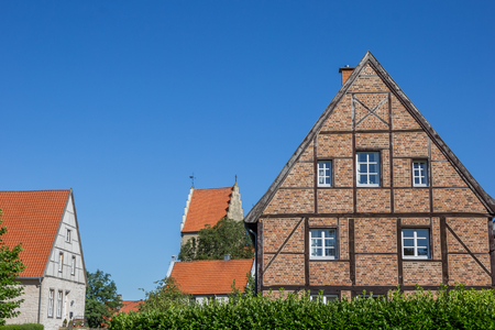 half timbered house: Half timbered house in the Kommende quarter of Steinfurt, Germany Stock Photo