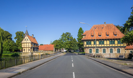 Castle and watermill in the historical center of Steinfurt, Germany Editorial