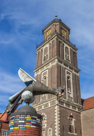 Sculpture and church tower in Coesfeld, Germany Editorial