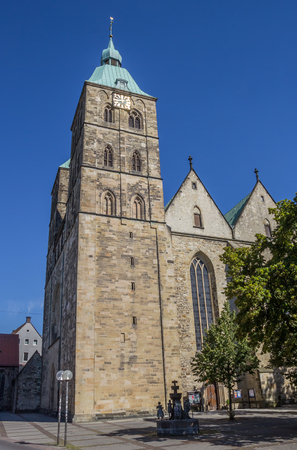 Towers of the St. John church in Osnabruck, Germany Stock Photo