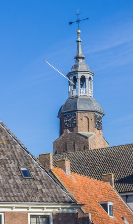 church tower: Church tower in the historical center of Blokzijl, Holland Stock Photo