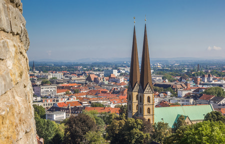 View over the Marienkirche in the historical center of Bielefeld, Germany