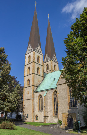 Two towers of the Marien church in Bielefeld, Germany Stock Photo