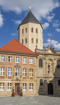 central market: Gaukirche church at the central market square of Paderborn, Germany Stock Photo