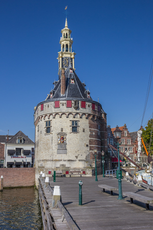 hoorn: Historical tower and jetty in the center of Hoorn, Holland