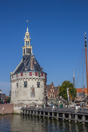 Historical tower and jetty in the center of Hoorn, Holland