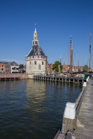 Historical tower in the harbor of Hoorn, The Netherlands Editorial